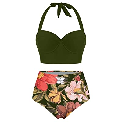 Ghazzi Women Swimsuits Two Pieces Push-Up Padd Overlay Sunflower Print Bikini Stripe Bathing Suits Swimwear Beachwear Set at Women's Clothing store