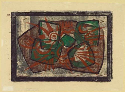 Photo: Scorpion,abstract art,prints,woodcuts,color,Werner Drewes,1946 by Infinite Photographs