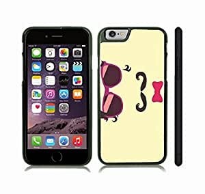 Case Cover For SamSung Galaxy S3 with Curly Mustache, Pink Glasses and Bow Tie and Hair, Cool Design on Cream Background Snap-on Cover, Hard Carrying Case (Black)
