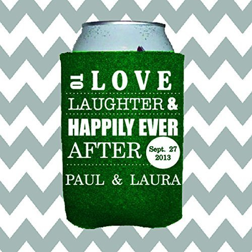 Personalized Wedding Can Insulator - Love, Laughter and Happily Ever -