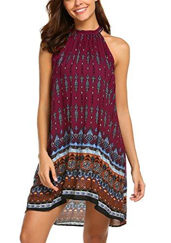 BLUETIME Women's Casual Sleeveless Halter Neck Boho Print Short Dress Sundress (S, Wine Red)
