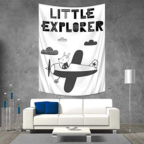 Anhuthree Explore Tapestry Wall Tapestry Hand Drawn Bunny in a Plane Monochrome Arrangement with Little Explorer Quote Art Wall Decor 51W x 60L INCH Black and White