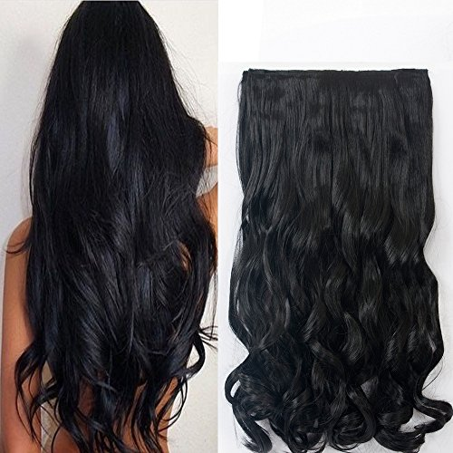 """Neverland Beauty 22"""" 3/4 Full Head One Piece Clip in Wavy Curly Hair Extensions Natural Black from Neverland Beauty & Health"""