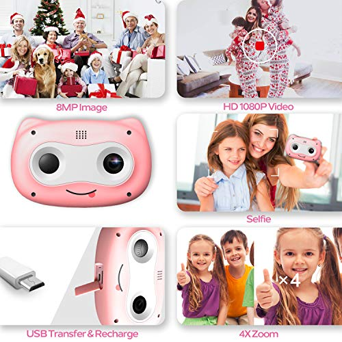 Kids Camera, 8 MP Digital Camera for Kids 3-10 Years Old, 1080P HD Shockproof Rechargeable Video Camera with 32GB Memory Card for Girls Boys Toddler Indoor Outdoor Travel, Pink