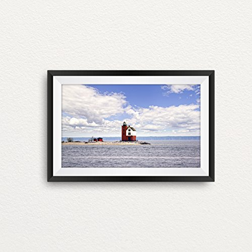 Michigan Round Island Lighthouse Print- Landscape Photography,Lighthouse Art, Michigan Art, Nature Photography, Great Lakes, Wall (Round Island Lighthouse)