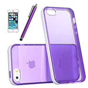 iPhone 5S Case, Pandamimi ULAK Slim Clear Back Case for iPhone 5S and iPhone 5 with Soft Premium Hybrid and Shock Absorption Bumper (Purple/White)