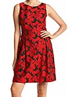 Tommy Hilfiger Womens Floral Jacquard Sheath Dress Red 14