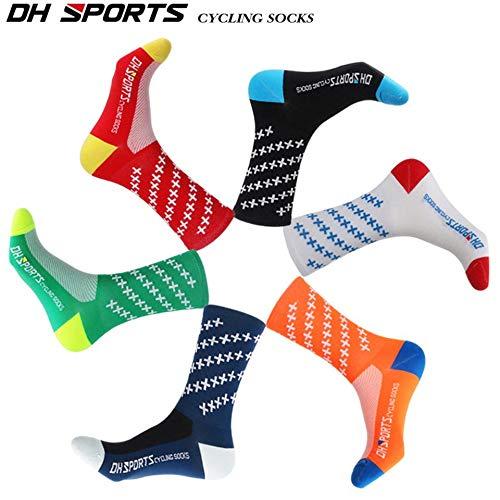 Noir Chaussettes de v/élo Respirantes Hommes Femmes Route Bicycle Socks Confortable Marque ext/érieure V/élo De Course Compression Chaussettes
