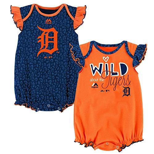 (Outerstuff MLB Newborn Infants Girls Team Sparkle 2 Piece Creeper Bodysuit Set (6/9 Months, Detroit Tigers))