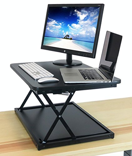 Small Standing Desk - Black DeskRiser 28X - Height Adjustable Sit Stand Desktop Converter for Smaller Spaces - Super Sturdy Supports up to 30 lbs 28'' Wide Sit Stand up by The House of Trade