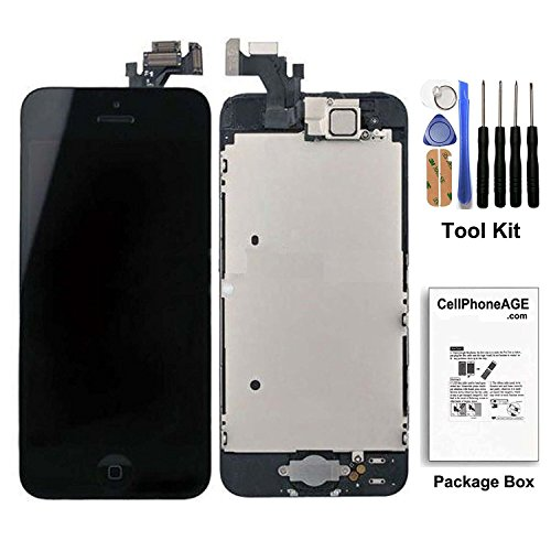 cellphoneage® [Prime]For iPhone 5 5G Black Full Set with Spare Parts LCD Screen Replacement Digitizer with Home Button, Bracket, Flex, Sensor, Front Camera, Frame Housing Assembly Display Touch Panel + Free Repair Tool Kits (I Phone 5 Replacement Parts)