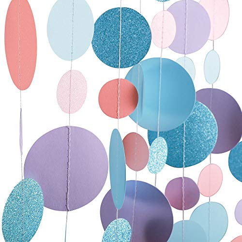 Fonder Mols 4 Coral Teal and Purple Circle Dots Paper Garlands Mermaid Under The Sea Party Hanging Streamers Decorations, Teal Bridal Shower/Baby Shower/Birthday Party Backdrop Bunting Banners Decor