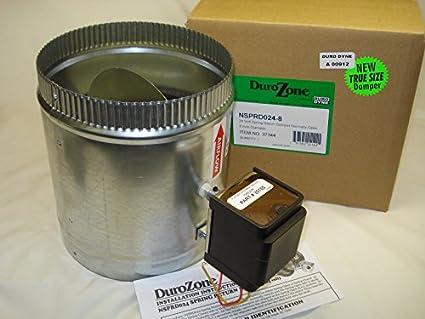 Durozone HVAC Motorized Electric zone control 24ac power damper 8 inch