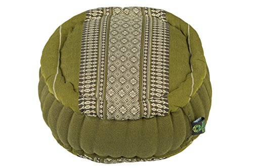 Zafu Round Cushion 100% Kapok, Bamboo Green Thai Design by Kapok Dreams