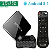 Android 8.1 TV Box 4GB DDR4 Ram 32GB ROM EstgoSZ H96 Max X2 4K Smart TV Box Amlogic S905X2 CPU HDMI 2.1/H265/2.4G 5.0G Wifi/100M LAN/BL/USB3.0 Full HD TV Box with Mini Wireless Backlit Keyboard