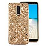 Samsung Galaxy A8 Plus 2018 Case [with Free Screen Protector],Funyee Luxury Shiny Sparkle Diamond Ultra-Thin Silicone Gel TPU Anti Scratch Durable Rubber Smart Case for Samsung Galaxy A8 Plus 2018,Gold