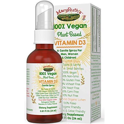 Vegan Liquid Vitamin D3 (Plant-Based) by MaryRuth's from Lichen Organic Non-GMO Vegan Gluten Free Paleo Ketogenic Friendly Bariatric Friendly & Celiac Friendly 400-1000 IU per Serving .81oz Glass