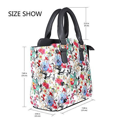 Women Flowers Background Coosun Crossbody Floral Pu Leather Medium handle Shoulder Bag Bag Tote Top Multicolor Bag With 4xSIrnqx