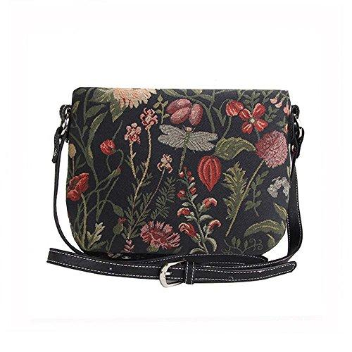 Body Signare Various Shoulder Across Designs Fashion Garden Morning Black Messenger Womens Tapestry Handbag Bag Fwq6UYpHw