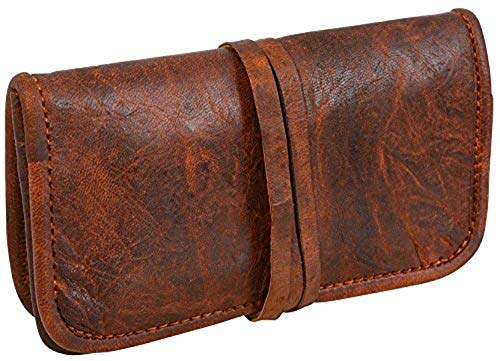 (JYOS Genuine Leather Stationery Make-Up Wrap Case Pouch Tobacco Battery Headphone Holder Vintage Unisex)
