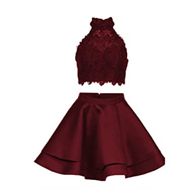 Ladsen Satin Lace Halter Short Prom Dress Two Pieces Homecoming Dresses L221 Burgundy US6 Size