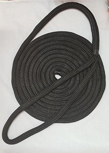- 3/4 Premium Double Braid Nylon Dockline 100% Made in USA (Black, 60feet)