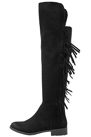 Marco Tozzi - Ladies Black Suede Flat Over the Knee thigh high ...