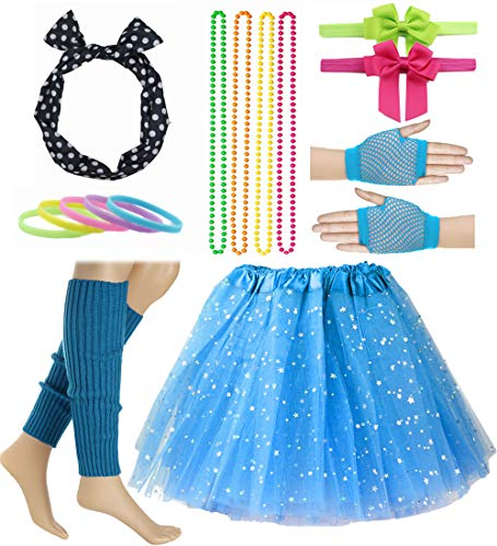 Girl 80s Star Sequin Tutu Skirt with Neon Necklace Bow Headband Hair Clip Set (Sky Blue)