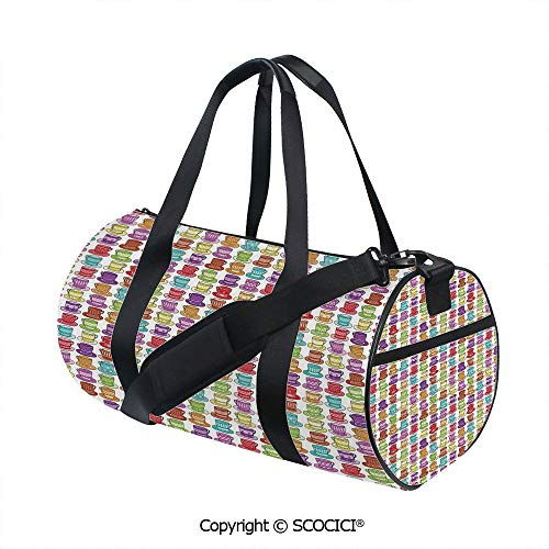 Nylon Ribbon Sports Backpack,Multicolored Teacup Design in Various Forms Squared Polka Dotted Lined StylesBarrel Bag for Women and Men,(17.6 x 9 x 9 in) Multicolor