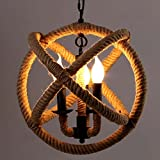 Industrial Hemp Rope Ceiling Light, Sun Run Creative Retro 3-Light Fixture Chandeliers Vintage Metal Pendant Lamp with Painted Finish for Dining Room Kitchen, E12/E14 Bulbs
