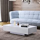 Mecor High Gloss White Rectangle Coffee Table, Modern Side/End/Sofa Table with 1 Layer, Living Room Home Office Furniture, Large Size For Sale