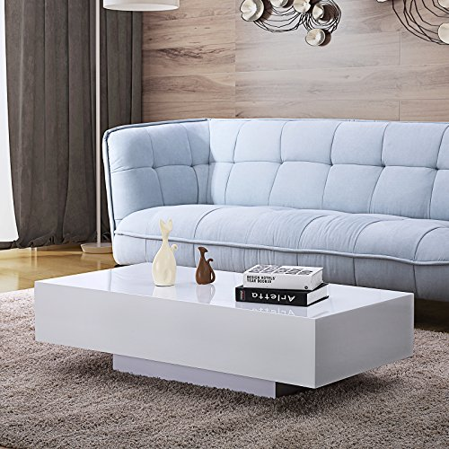 Mecor High Gloss White Rectangle Coffee Table, Modern Side/End/Sofa Table with 1 Layer, Living Room Home Office Furniture (Modern Gloss High)