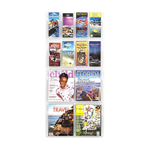 (Safco Products 5609CL Reveal Literature Display, 4 Magazine and 8 Pamphlet, Clear (Renewed))