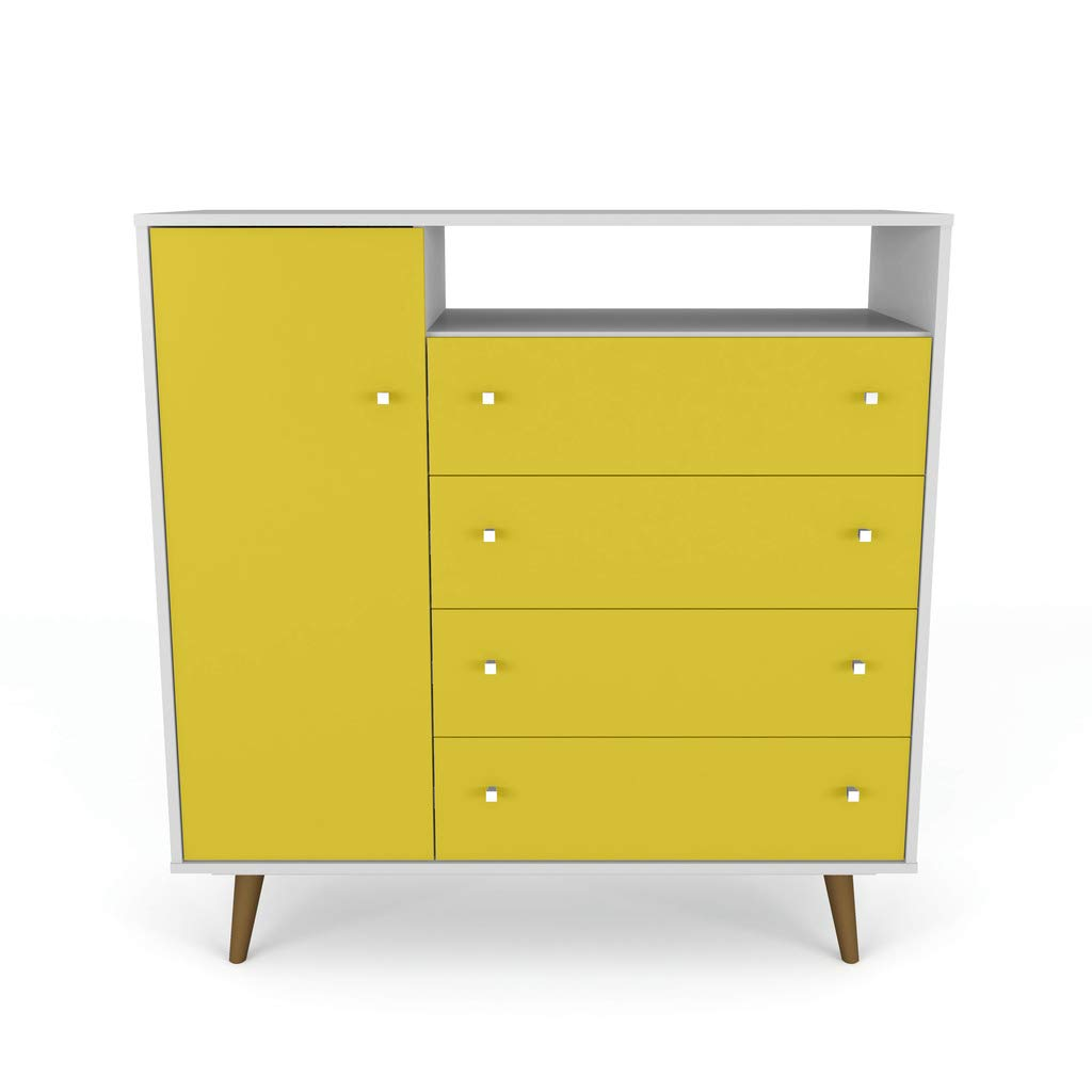 Manhattan Comfort Liberty TV Stand, White/Yellow by Manhattan Comfort