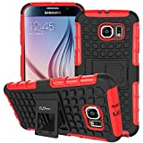 S6 Case ,Galaxy S6 Case, DLF Case [ Shockproof ] Samsung Galaxy S6 Case Heavy Duty Rugged Dual Layer TPU Textured Non Slip Reinforced Polycarbonate Hybrid Case for Samsung Galaxy S6 with Kickstand (Hot Red)
