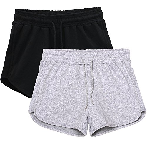 HBY 2 Pack Women's Casual Running Workout Yoga Shorts Sports Fitness Short Pants