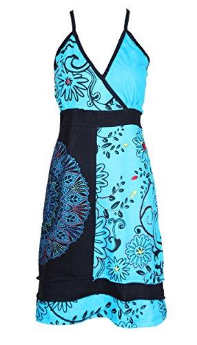Vestido resbalón de las mujeres con colorida Mandala punteada Bordado Azul