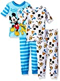 Disney Baby Boys' Mickey Mouse 4-Piece Cotton Pajama Set, Stripe Blue, 18M