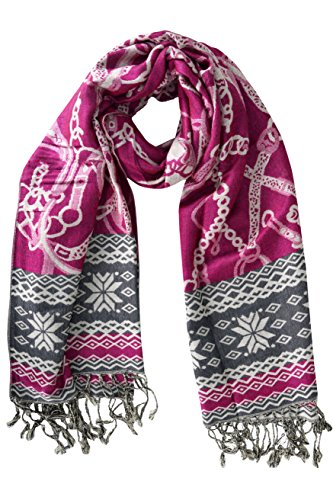 Peach Couture Womens Silky Soft Woven Luxurious Pashmina Shawl Scarf Wrap with Fringes Fuchsia