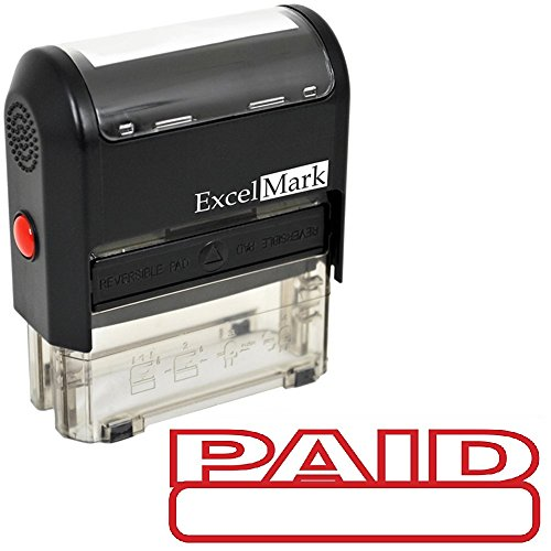 - PAID Self Inking Rubber Stamp - Red Ink