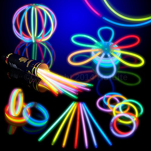 8' HotLite Brand Glowsticks Glow Stick Bracelets Mixed Colors (Tube of 100) Party Favor