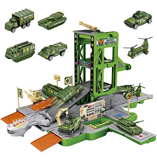UNIH Kids Construction Vehicles Truck Set, Deformable Engineering Truck Toy with Light & Sound, Excavator, Cement Machine, Bulldozer, Minivan, Gift for 3 4 5 6 Years Old Boys and Girls