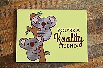 "1x Funny Koalas Friendship Card ""Koality Friend"" - pun card, card for friend, animal card, birthday card, funny thank you card, cute friendship card"