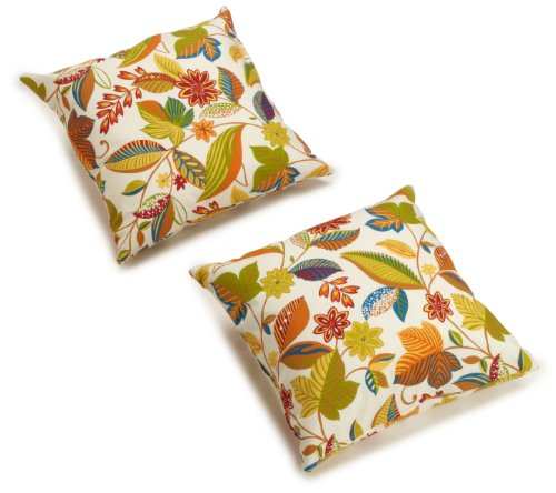 Blazing Needles Outdoor Spun Poly 20-Inch by 20-Inch by 6-Inch Throw Pillow, Skyworks Multi, Set of 2