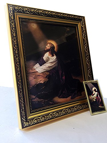 Jesus Christ Praying At Gethsemane Religious Wall Picture Gold Framed Art Print