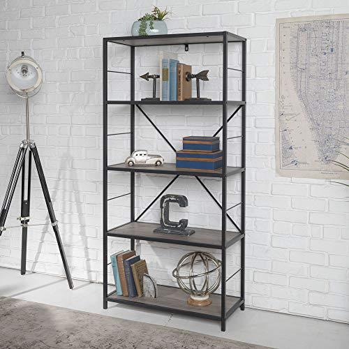 WE Furniture AZS60RMWGW 4 Shelf Rustic Wood Metal Bookcase Bookshelf Storage, 60 Inch, Grey (Grey Metal Bookcase)