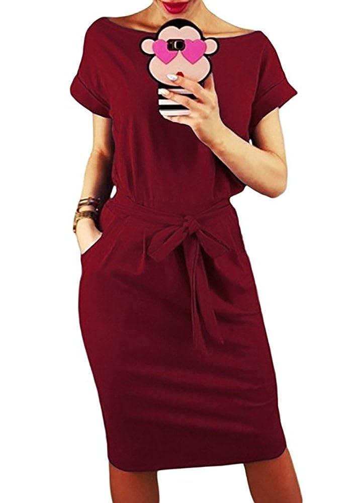 Vruan Summer Dresses for Women Short Sleeve Pockets Casual Swing T-Shirt  Women s Day Dress d5296bd49