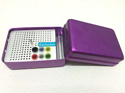 180 Holes Dental Endo Box FG Burs Holder Autoclave Disinfection Box With A Ruler Purple