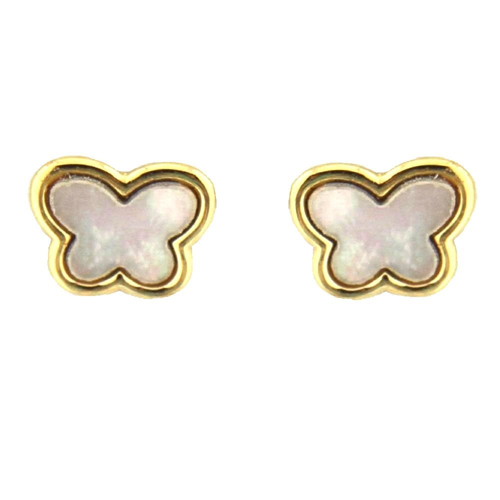 18K Yellow Gold White Mother of Pearl butterfly screwback earrings, 0.32 x 0.27 in
