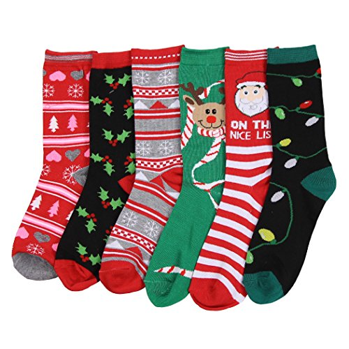 Womens Fun and Colorful Crew Sock 6 Packs (Christmas 2), One Size ()